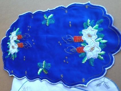 Tischdecke Tischläufer weihnachten Deko Weihnachtsmann 25x45 Grün Rot Blau Weiß