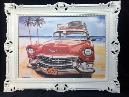 Auto Cuba Taxi Rot Bild Rahmen Wandbild 70x90 Oldtimer Classic Cuban Auto
