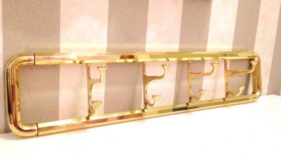 8er Wandhaken Beweglich Garderobenhaken Kleiderhaken Messing Gold 63x14 cm