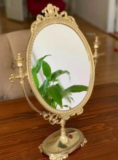 Standspiegel Gold MESSING Schminkspiegel Kippspiegel Antik schwenk Spiegel 38cm