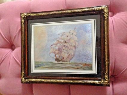 Antik Bild mit Rahmen 31x26 Braun Holz Optik Schiffe Boote Am Meer Barock Rahmen