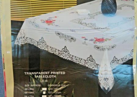 Tischdecke beige 150x230cm mit Blumenmuster Tischtuch Pvc teil Transparent