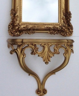 Wandkonsole Gold Barock Konsole Antik 57x45x18 Wandspiegel WandRegal Hängeregal