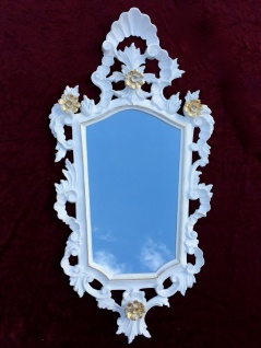 Wandspiegel Barock Weiß gold Spiegel Antik Badspiegel Barspiegel 83x43 Oval C1G
