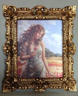 Bild mit Rahmen Frau in Mohnblumenfeld 45x38 Erotik Bilder Gemälde