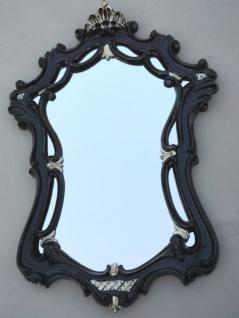 Wandspiegel Antik Oval Schwarz-Silber Badspiegel 54X39 Shabby Flurspiegel c498