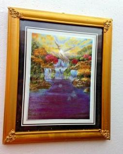 Antik Bild mit Rahmen Landschaftsbild Wasserfall Gold 31x26cm Bilderrahmen Gold