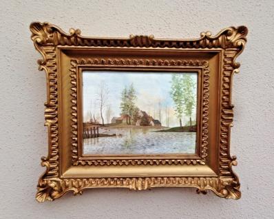 Gemälde 33x28 Antik Barock Rechteckig Bild mit Rahmen Landschaft Seeblick