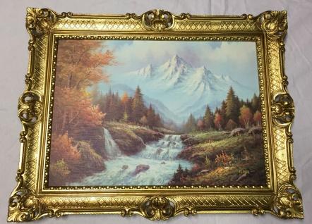 Gerahmte Gemälde Berge See Fluss 90X70 Landschaft Bild mit Rahmen Berge