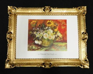 Bild mit Rahmen Gemälde VASE MIT BLUMEN VAN GOGH Antik RAHMEN Gold Reblikat