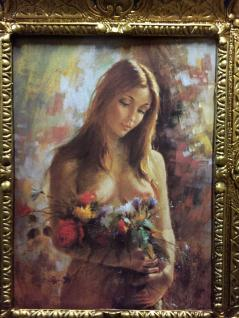 Akt Erotik Gemälde gerahmte Bild 56x46 Frau Nackt Bild mit Rahmen Barock 02 - Vorschau 2