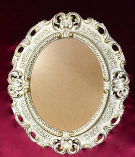 Bilderrahmen Antik Weiß Gold Oval mit Glas 45X37 Barock Fotorahmen