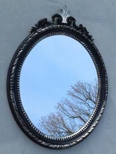 Wandspiegel Oval Antik Schwarz Silber Barock Spiegel 51X37 Mirror Shabby c13