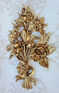 Wanddeko Antik Barock Wandbehang 38x28cm Gold Blumen Wandrelief Tür/Möbel Deko - Vorschau 3