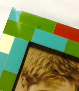 Bilderrahmen HOLZ Antik 27x22 grün Blau 10x15 Ausstellungsstück Fotorahmen - Vorschau 2