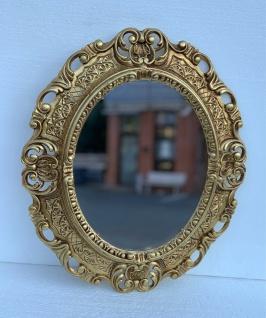 Barock Wandspiegel Gold Oval 38x45 Spiegel Antik Rokoko Badspiegel Shabby Prunk