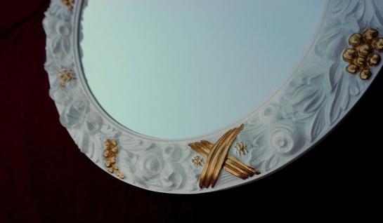 Spiegel Wandspiegel Rund Weiß-Gold Antik Ø 47 Badspiegel Flurspiegel Shabby c497