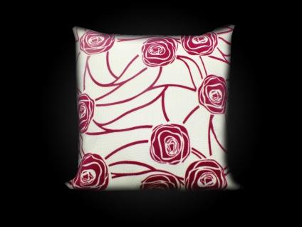 Kissenhülle Kissenbezug Sofakissen creme-rosa 45x45 Ornamente rose reißverschluß