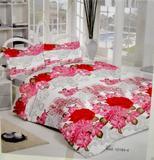 Bettwäsche Garnituren 4 teilig Baumwolle 200x220cm Bettbezug mit Blumenmuster