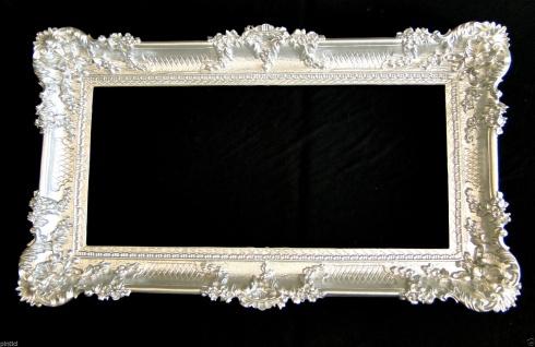 Bilderrahmen Barock Silber Prunkrahmen Antik 96x57 Fotorahmen Rokoko Rahmen xxl
