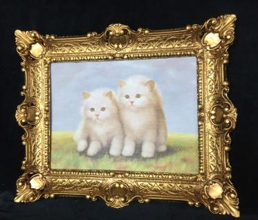Bild KATZE weiß Wandbild mit Rahmen 57x47 Gemälde Wanddeko Kleine Katzen T8