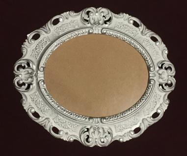 BILDERRAHMEN OVAL Weiß-Silber Antik Barock Fotorahmen 45X37 Spiegelrahmen Neu