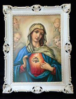 Madonna 90x70 Maria Herz Engel Wandbild Heilige Bild Bilderrahmen Weiß-Gold