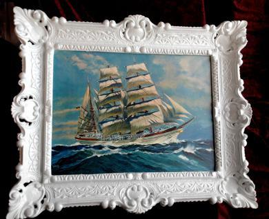 Bild mit Rahmen Bild Segelschiff Antik 56x46 See Bilderrahmen Barock Weiß 3049