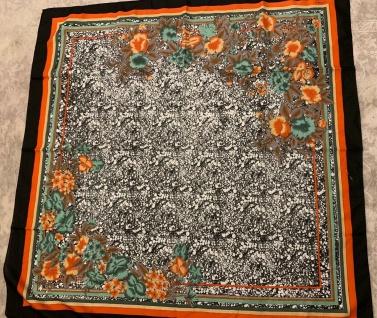 Halstuch Schal 110 x110 Kopftuch Schwarz Rot Tuch Blumen Schultertuch