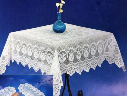 Tischdecke Häkelspitze 110x160 Häkeltischdecke Tulpe Spitze Stoff Weiß Rosa Blau