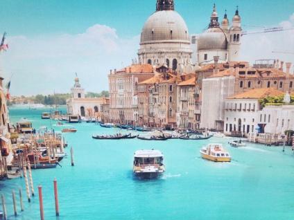 LED Bild + Beleuchtung Leinwand Venedig Canal Grande Wandbild Leuchtbild 60x80