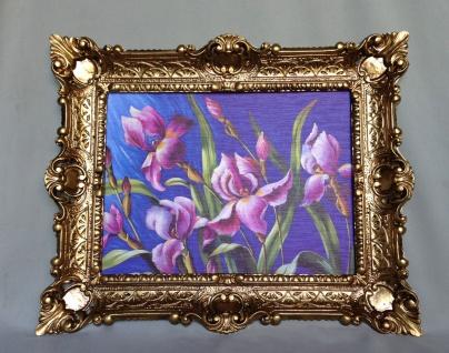 Gemälde Blumen Lila Wandbild 57x47 Blumen Bild mit Rahmen Gold 06
