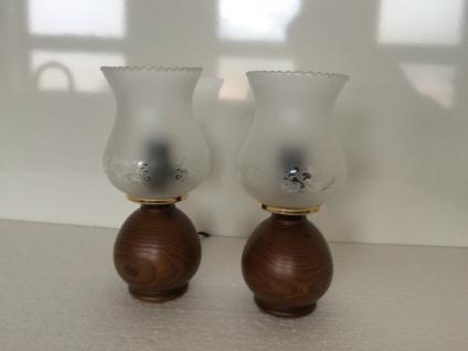 2 x Tischlampen Nachtischlampe HOLZ dunkel Tischleuchte Antik Look Leselampe 113