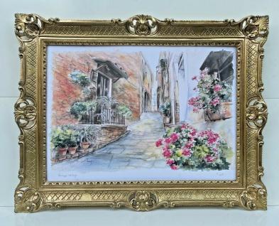Bild mit Rahmen Blumen Landschaft Antik BILDER WANDBILD 90x70cm Gerahmte Bilder