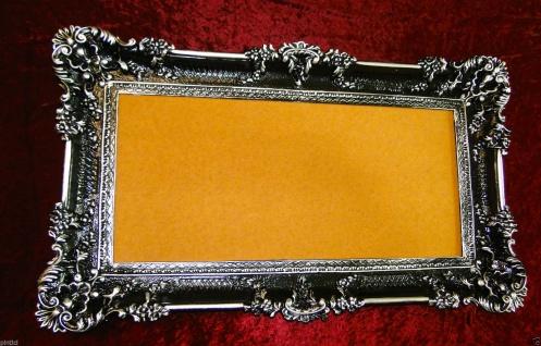 Bilderrahmen Schwarz/Silber Barock 96x57 Spiegelrahmen Antik Fotorahmen Retro