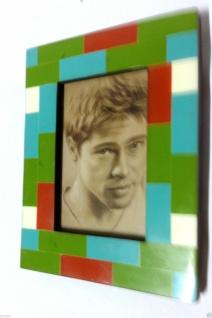 Bilderrahmen HOLZ Antik 27x22 grün Blau 10x15 Ausstellungsstück Fotorahmen - Vorschau 5