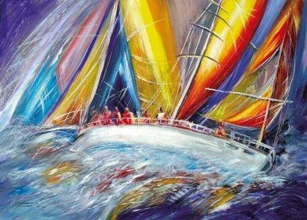 Kunstdruckbild 50x70cm Segelschiffe Gemälde Klassik Seeschlachten Regatten Bild