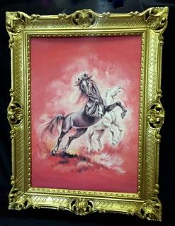 Gerahmtes Pferde Bild Gemälde Pferd 90x70cm Pferd Bild mit Rahmen Pferde Rot