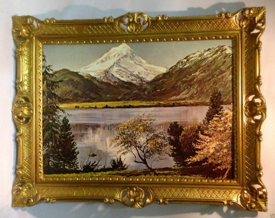 Gemälde Berg See Landschaftsgemälde Gerahmt Meer Landschaft 90x70 Wohnzimmerbild