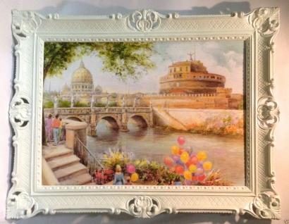 Venedig Bild Gerahmte Gemälde 90x70 Rom Roma Brücke Aquarell Wandbild Italien