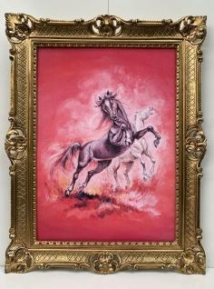 Gerahmte Wilde Pferde Bild Gemälde Bilderahmen Gold Bild mit Rahmen Barock 90x70