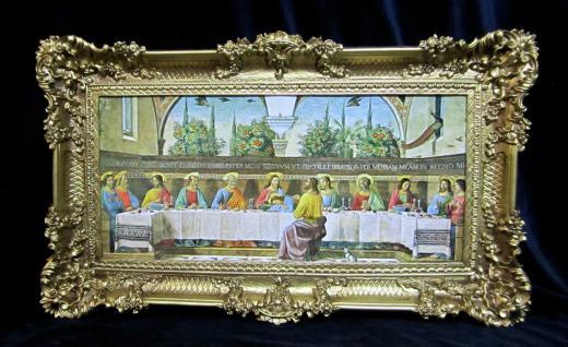 Das Letzte Abendmahl 97x58 Leonardo Da Vinci Jesus Gemälde mit Rahmen Jesusbild