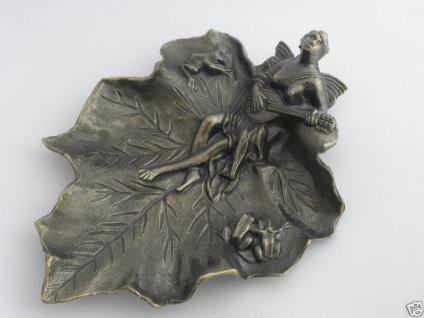 Wunderschöne deko Schale Aschenbecher Messing-Look Visitenkartenetui antik 23cm - Vorschau 2