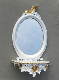 Wandspiegel Weiß Silber Barock mit Wandkonsole Antik Spiegel 48x25 Oval cp91