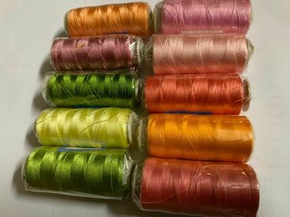 10 Polyestergarn Rosa Altrosa Gelb Reißfest Spitze Stickgarn Multicolor restpost - Vorschau 2