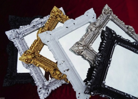Bilderrahmen Silber mit Glas Rechteckig Barock 45x37 Fotorahmen Antik Rahmen