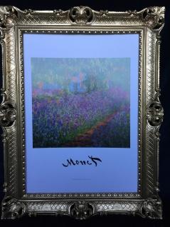Claude Monet Garden Landschafts Bild Blumen Bilder mit Rahmen Gold 90x70Gli Iris