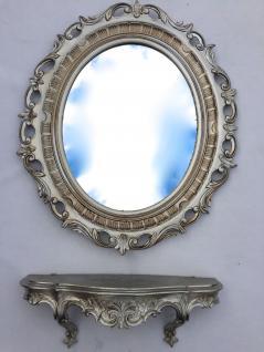 Wandspiegel mit Konsole Barock 58x68 Wandregal 45x21 Wandkonsole Antik Silber