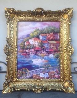 Meerblick Balkonblick Landschaften Boote Italien 56x46 Kunstdruck Bild Wandbild