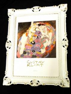 Gemälde Bild mit Rahmen xxl 90x70 DIE JUNGFRAU Gustav Klimt Bilderrahmen Barock